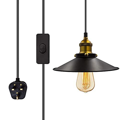 Industrial Vintage Plug in Lámpara colgante Interruptor de encendido / apagado Retro Jaula colgante Iluminación colgante E26 E27 Pequeñas luces de techo ajustables Jaula Enchufe en lámpara Lámpara de