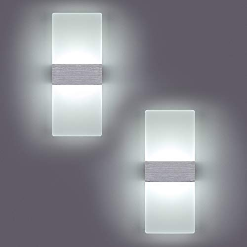Yafido 2 * 12W Aplique Pared Interior LED Yafido Blanco Frio Lámpara de pared Moderna 2PCS 220V plata cepillado para Salon Dormitorio Sala Pasillo Escalera