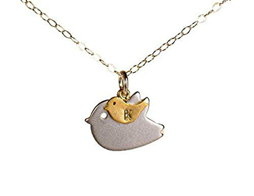 Personalized Mother Child Bird with Initial Necklace