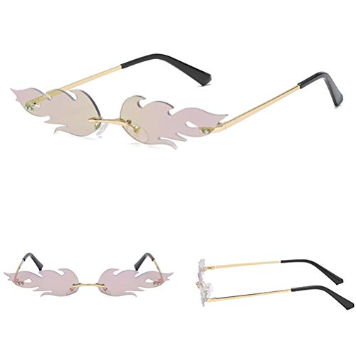 Occhiali da Sole da Donna - Occhiali da Sole a Forma di Fiamma Creativa Occhiali da Vista da Uomo in Metallo da Donna, Occhiali da Sole Stile Punk Vintage di Moda
