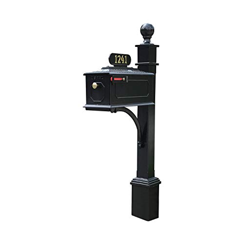 ADDRESSES OF DISTINCTION Williamsburg Estate Mailbox & Post System  Black Rust Resistant Aluminum Mailbox  Includes Address Plate, Numbers, Mounting Hardware, Ball Finial (Estate - Black)