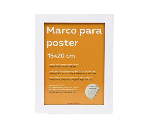 Nacnic Marco Blanco para Fotos, Posters, láminas, Diplomas. Tamaño(15x20 cm).Robusto de MDF y Frontal de plexiglas.Marco Blanco para Colgar