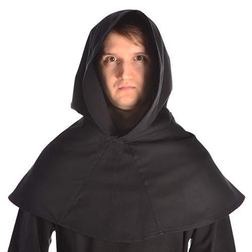 HEMAD Mittelalter Kapuze schwarz Baumwolle Mittelalterliche Kleidung