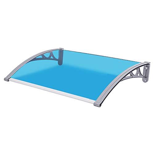 CHAOYANG Türüberdachung Haushalt Fenster Markise/Balkon Im Freien Klimaanlage Baldachin, Grau Aluminium-Halterung, Blau PC-Platine (Polycarbonat) - 6 Größen (Size : 60×100cm)
