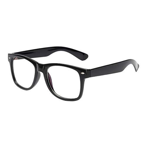 Xniral Frauen Männer Brille Anti-blaues Licht Retro Runder Flacher Spiegel(Schwarz)