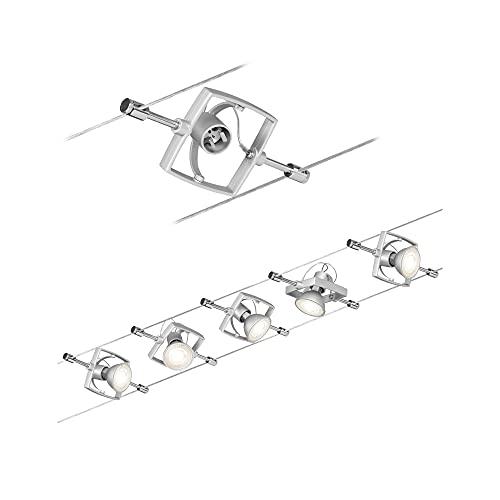Paulmann 94133 Système de câbles Set Mac II, max. 5x10W, GU5,3 Chrome mat, 230/12V, 60VA, Métal/Plastique