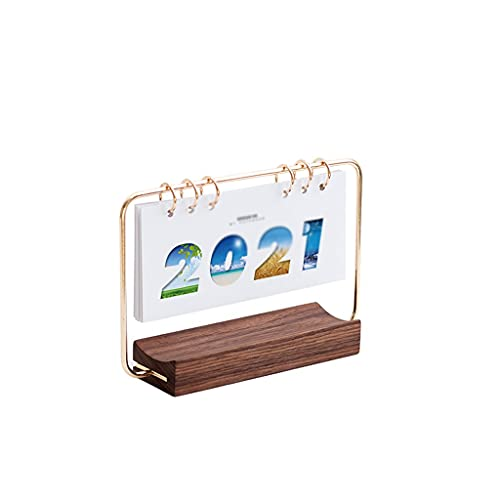 LUYTW Daily Office Metal Desk Calendar Perpetual Wood Vintage Calendar For Home Decor -Monthly Weekly Year Planner Standing Desk Decor Wood Calendar (Color : B)