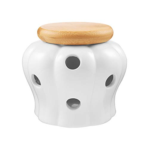 BUSKYI Garlic Keeper,Garlic Keeper for Counter, White Ventilated Garlic Container, Ceramic Garlic Storage Container with Bamboo Lid