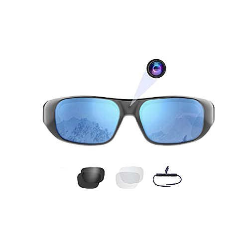 Waterproof Video Sunglasses,64GB Ultra 1080P HD Outdoor Sports Action Camera and 3 Sets Polarized UV400 Protection Safety Lenses,Unisex Sport Design