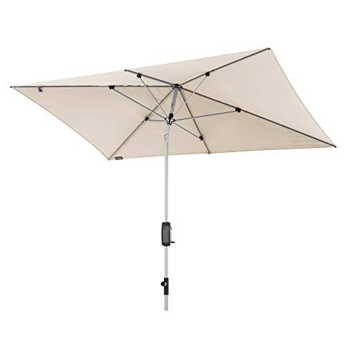 Knirps Sonnenschirm Automatic - Rechteckiger Kurbelschirm - Modernes Design - Starker UV-Schutz - 260x165 cm - Natur