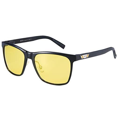 Duco Herren und Damen Polarisierte Blendschutz Nachtfahrbrille HD Nachtsicht Gelb Fahrbrille 3029Y (Schwarz)
