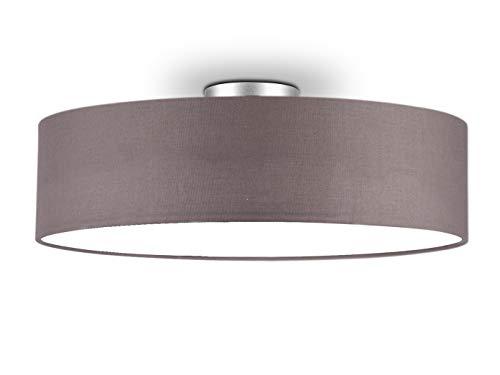 Lámpara de techo redonda atemporal con pantalla de tela en marrón y gris, diámetro de 50 cm, cubierta satinada para un ambiente de luz antideslumbrante.