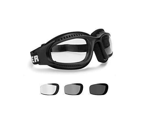 BERTONI AF113 Winddichte Motorradbrille Schutzbrille with Outriggers Antibeschlag UV Schutz - Verstellbar Elastische für Motorradhelm - Transparent Linse (Photochrome Linse)