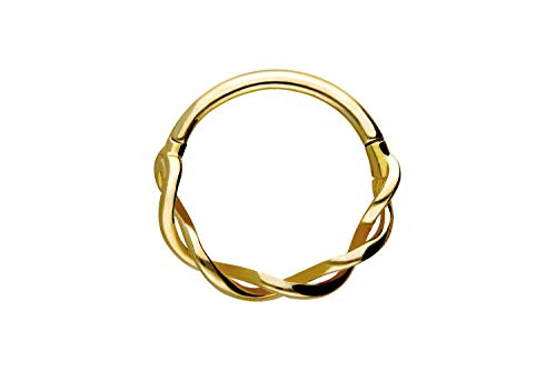 PIERCINGLINE 750er Gold Segmentring Clicker | 18 KARAT | DOPPELT GEDREHT | Piercing Ring Nase Septum Ohr Helix | Farb & Größenauswahl