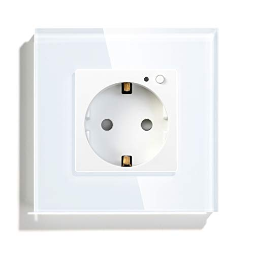 BSEED AC Power Tomacorriente de pared Estándar de la EU con un Interruptor de Protección 86mm*86mm Blanco