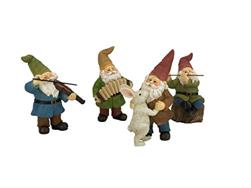 GlitZGlam Happy Gnomes Dancing Celebration! - 4- Piece Musical Garden Gnome Set for The Miniature Fairy Garden