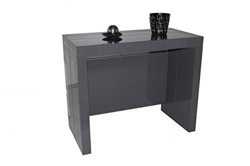 Table Console Extensible à 3 allonges intégrées Milano - Laqué Gris Taupe 10 Couverts
