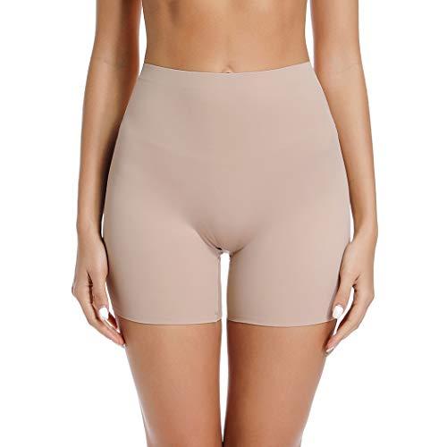 Joyshaper - Pantalones cortos antirozaduras para mujer y niña, talla grande, para debajo del vestido de falda sin costuras, pantalones de seguridad, calzoncillos lisos, pantalones cortos Beige beige L
