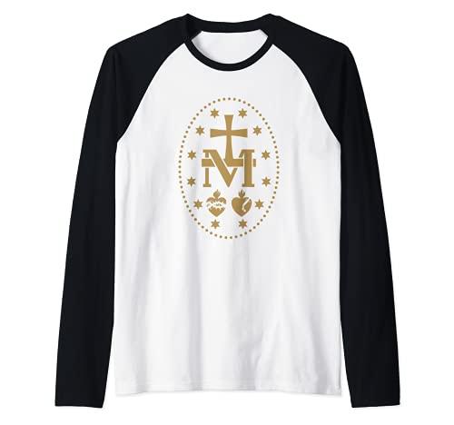 Medalla Milagrosa de la Virgen María Santo Católico Camiseta Manga Raglan