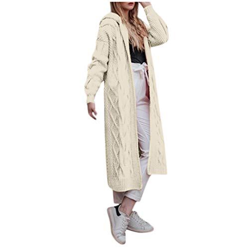 Zegeey Strickjacke Pullover Damen Langarm Langer Einfarbig Pulli Herbst Winter Mantel Outwear Oberteile Bluse Shirt Langjacke Trenchcoat(Weiß,34 DE/S CN)