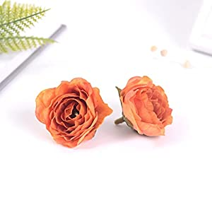 Silk Flower Arrangements Artificial and Dried Flower 20pcs4CM Peony Artificial Flower Heads Silk Rose for Wedding Party Home Decoration WreathClip Fake Flower - ( Color: Begonia Red; Size: 20pcs )