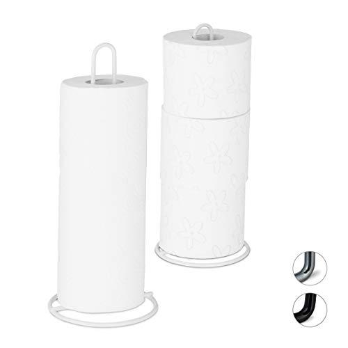 Relaxdays 10028011_49 keukenrolhouder set van 2, staand, voor keuken- en toiletrollen, metaal, eenvoudig, HxD 32x13 cm, wit, ijzer