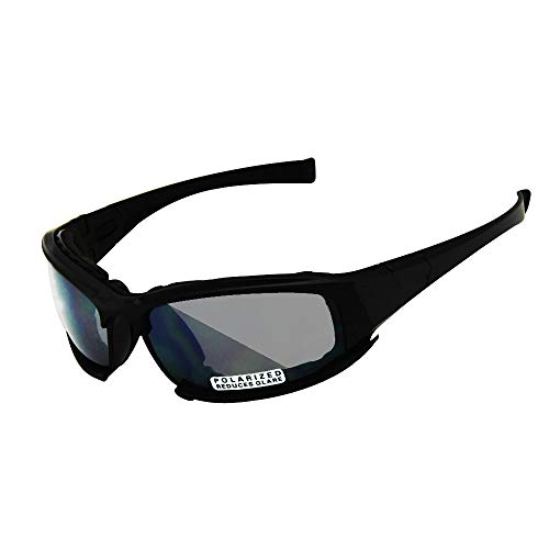 EnzoDate Polarized Daisy One X7 Army Sunglasses, Military Goggles 4 Lens Kit, Men War Game Tactical Outdoor Sunglasses (Black, 1 Lens Polarized (Out of 4))