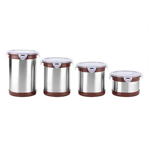 Tarros de almacenamiento de acero inoxidable de 4 piezas/juego, olla de sellado para el hogar con anillo de silicona, recipiente de almacenamiento de cocina para almacenar galletas, café, té, harina,
