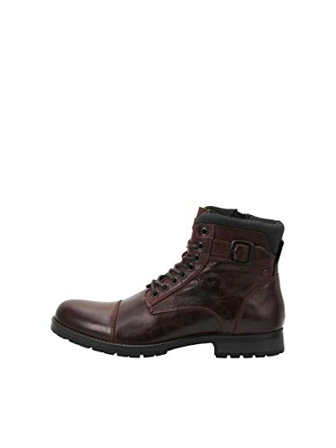 JACK & JONES JFWALBANY Leather STS, Biker Boots Hombre, Marrón(Brown Stone Brown Stone), 43 EU