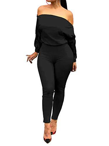 OLUOLIN Women's Zipper Off Shoulder Jumpsuit Bodycon Long Pants Romper Black