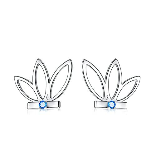 Lotus - Pendientes para mujer de plata de ley 925, diseño de flor de loto y varilla, varios colores, Plata de ley,