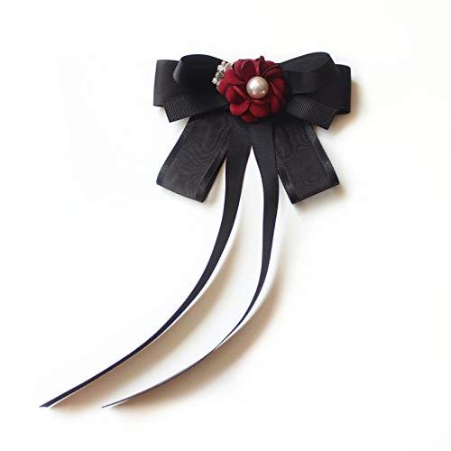 COLORFULTEA Lazos De Cinta Perlas De Cristal Broches De Pajarita para Mujeres Camisas Pin De Corbata Trajes De Niñas Bowtie Ropa De Negocios Accesorios para El Cuello