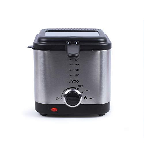 Freidora con aceite pequeño 1,5 L – Recipiente de acero inoxidable de 1,5 litros antiadherente – 900 W con termostato – Tapa extraíble con ventana y filtro de olores