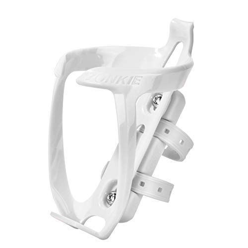 zonkie Bicycle Bottle Cages, Plastic Bike Bottle Holder with Cage Mounting Base (White)
