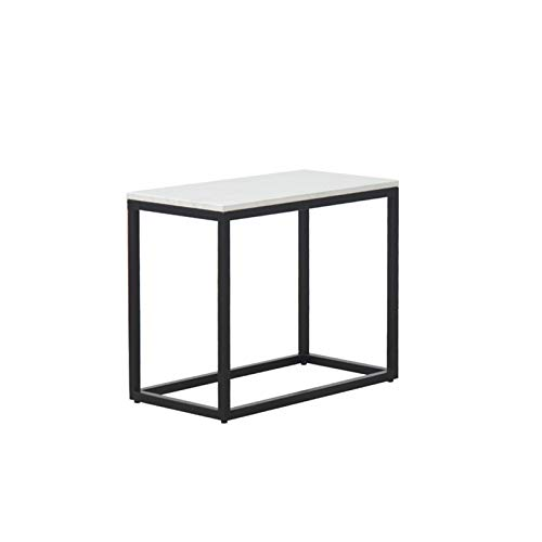 Marble Table, Multifunctional Coffee Table Gold/black Metal Stand & White Marble Table Top Decorated Table For The Living Room, Leisure Corner(Size:58 * 30 * 45CM,Color:Black)