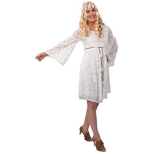 NET TOYS Stilechtes Hippie-Kleid mit Spitze für Erwachsene - Weiß 34/36 (XS/S) - Elegantes Frauen-Dress Ethno &Vintage - Passend gekleidet für Gartenparty & 70er-Party