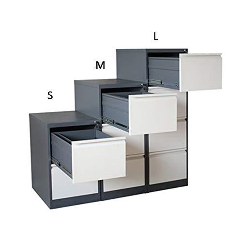 JenLn Office-bestanden Pedestal Robuust, Grote Push-Pull-ladekast van ijzer met diefstalbeveiliging, volledig gemonteerde, meerlagige lade, wit Office-Podestbestanden