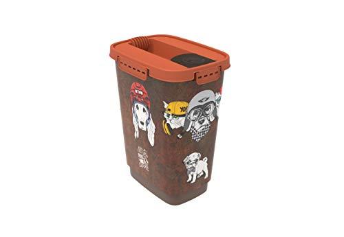Rotho Caja de Almacenamiento para Comida de Animales de plástico (PP) 10 l, S, Plástico (PP) sin BPA, marrón/Naranja, 24.3 x 17.9 x 32.2 cm