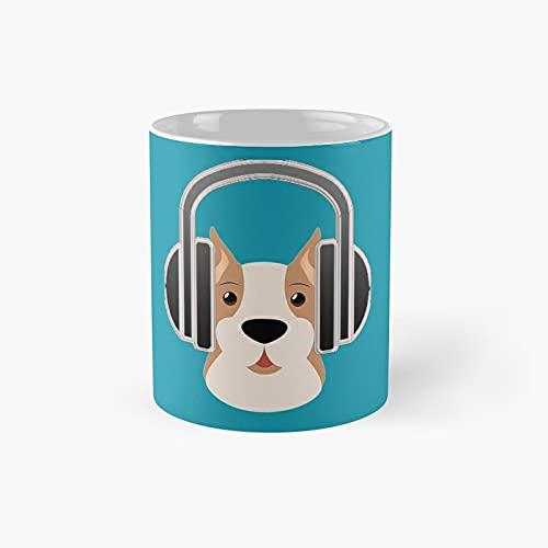 Dog With Headphone Classic Mug - 11 Ounce For Coffee, Tea, Chocolate Or Latte.