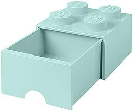 LEGO 4005 Ladrillo 4 pomos, 1 cajón, Caja de almacenaje apilable, 4,7l, Legion/Aqua Light Blue/Mint, 25 x 25 x 18 cm