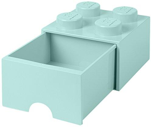 LEGO 4005 Brick 4 knoppen, 1 lade, stapelbare opbergdoos, 4,7 l, groen, plastic, Legion/Aqua Light Blue/Mint, 25 x 25 x 18 cm