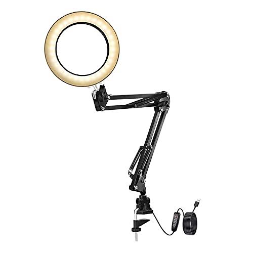 sharprepublic Lámpara de Lupa LED, Lámpara de Escritorio de Lupa 5X con Lámpara de Lupa de Vidrio de 4,13'de Diámetro para Lectura/Oficina/Banco de Trabajo. (N - Base de Clip, Individual