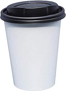 Gastro-Bedarf-Gutheil - Juego de 100 tazas de café de papel blanco con tapa, ideal para café con leche, machiato, capuchino, chocolate