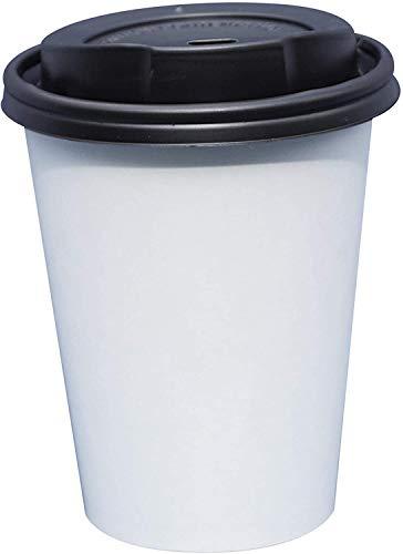 Gastro-Bedarf-Gutheil 100 Kaffeebecher Pappbecher weiss Becher Coffee to go 0,2 mit Deckel Ideal für Coffee Latte Machiato Cappuccino Chocolate Tea Cream