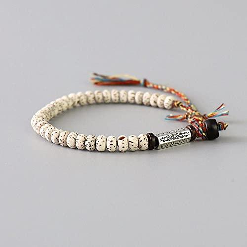 Hilo De Algodón Trenzado Tibetano Tibetano Hecho A Mano Lucky Knots Pulsera Natural Bodhi Beads Tallado Amuleto Pulsera para Hombres