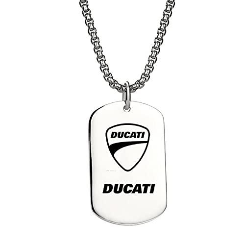 Yhuisen Modische Motorrad-Logo-Halskette, Titan-Edelstahl, Gliederkette, Schmuck für Ducati Monster 695 696 796 797 821 620 600 400 (Farbe: Weiß)