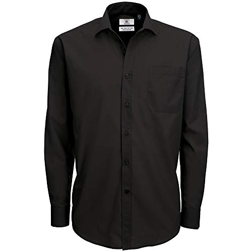 B&C Herren Mens Smart Long Sleeve Poplin Shirt Businesshemd, Schwarz (Black 000), 19.5 (Herstellergröße: XXXX-Large)
