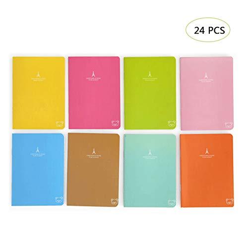 24 Stück Klein Notizblock, Candy Farbe Notepad Schulhefte, Reisetagebuch Tragbares, Papier Notizbuch Schreibwaren Geschenk Büro Schule