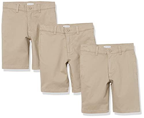 Amazon Essentials Boys Woven Flat-Front Shorts, 3-Pack Khaki, 8