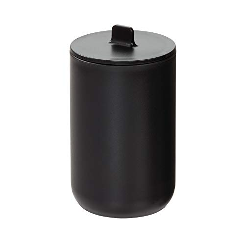 IDesign Rangement Coton avec Couvercle, Rangement Salle de Bain Rond pour Cosmétiques et Maquillage, Pot de Rangement à cotons et Cotons-Tiges en Plas